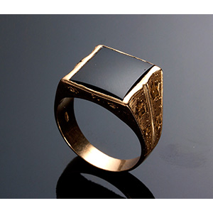 Vintage 18K yellow gold onix Ring - 1940s, ...