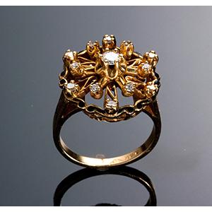 Vintage 14K Gold and diamond Ring -  USA ...