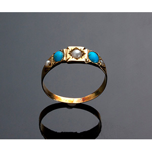 Antique 15K Gold Ring set with tourquoise ...