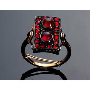 Vintage 18K Gold garnet Ring -  20th ...