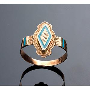 Antique enamel 14K yellow gold ring ( ...