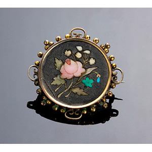 Antique Nouveau gilded metal brooch set with ...