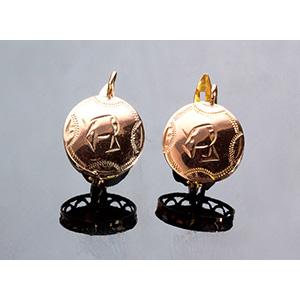 "Antique 9K gold ""Monachina"" Earrings -  ..."