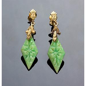 Antique Art Deco gold filled Jade dangle ...