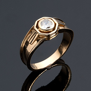 Vintage 18k yellow gold solitaire ring; ; ...