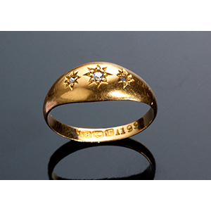 Antique Edwardian 18K yellow gold ring with ...