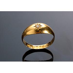 Antique Edwardian 18K yellow gold diamond ...