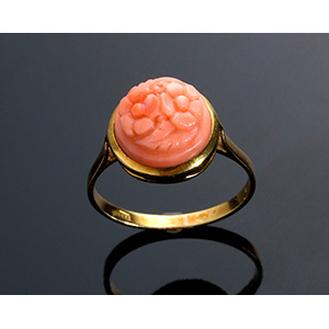 Vintage 18K yellow gold coral-shaped flower ...