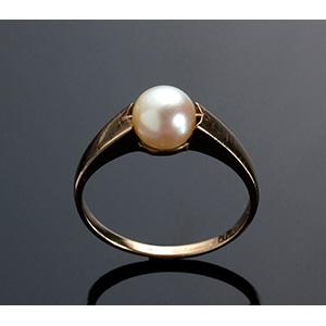 Art Deco 8K yellow gold pearl ring - ...