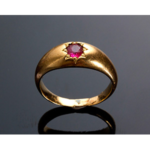 Antique Edwardian 18K yellow gold ruby ring ...