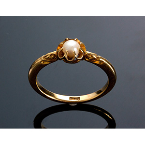 Antique Victorian 18K yellow gold  pearl ...