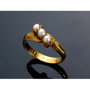 Antique oriental 18kt yellow gold ring ...