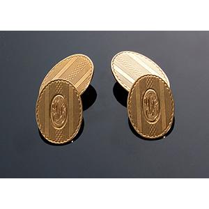 14kt yellow gold cufflinks.  U.S.A.,  ...