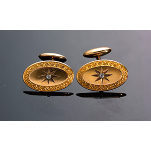 Antique 14K yellow gold cufflinks  with 3 ...