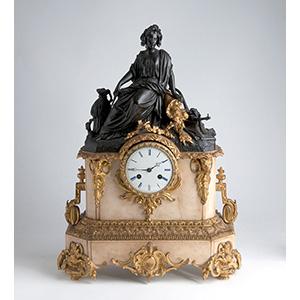 Elegante orologio da appoggio in bronzo e ...