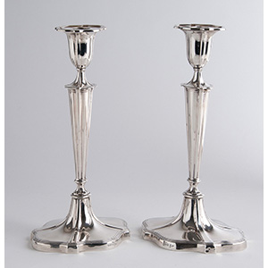 Unusual pair Sterling Silver Candlestiks ...