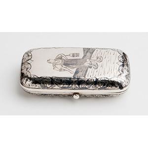 Scatola Portasigarette in argento e niello - ...