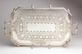 Victorian Silver Plated rectangular tray ...