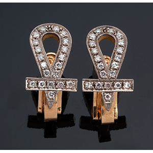 Pair of unusual vintage 18K gold and huit ...