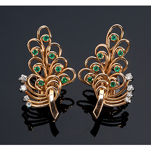 Pair of large retro 18K gold emerald and ...