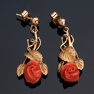 Pair of pretty 18K gold and coral dangle ...