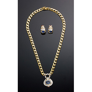 18K gold, sapphires and diamonds demi ...