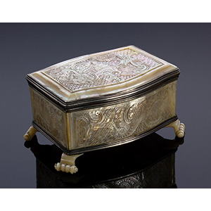 A mother of pearl and silver treasure chest ...