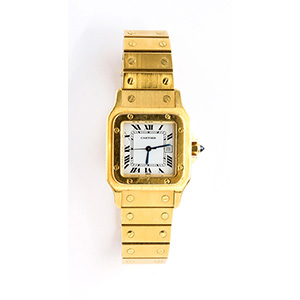 CARTIER Santos, 18K Gold Wristwatch ; ; Pre ...