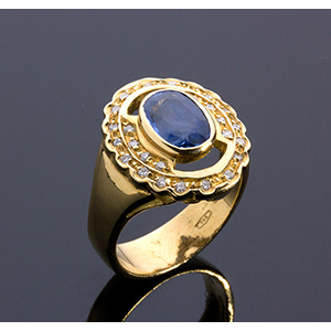 18K gold, blue sapphire and diamond rings; ; ...