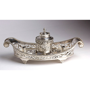 A beautiful solid 950% silver boat inkwell - ...