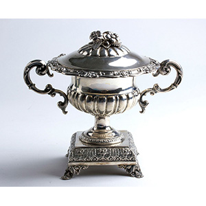 Solid 800% Silver, covered sugar bowl - ...