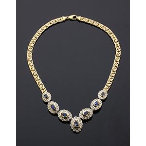18K gold, blue sapphire and diamond ...