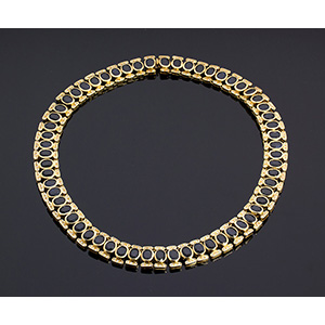 18K yellow gold, blue sapphire and diamond ...