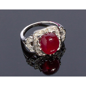 9K GOLD DIAMOND AND TREATED RUBY (COMPOSITE ...