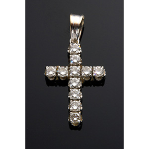 18K Gold and diamonds cross; ; set with 11 ...