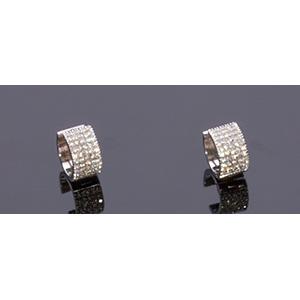 18K GOLD DIAMOND EARRING; ; hoop earring ...