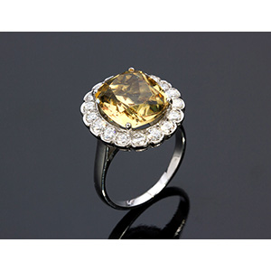 18K GOLD CITRINE QUARTZ DIAMOND RING; ; ...