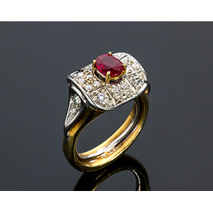 18K GOLD RUBY AND DIAMOND RING; ; ruby ...