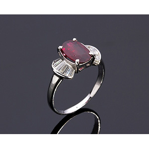 18K GOLD RUBY AND DIAMOND RING; ; with ...