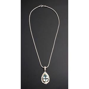Natural Aquamarine & Micro Pave Diamond ...