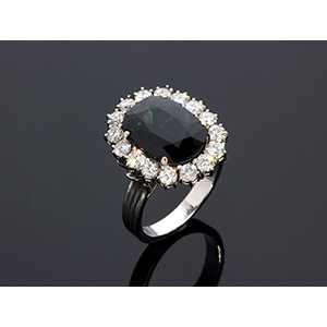 18K GOLD SAPPHIRE AND DIAMOND RING; ; ...