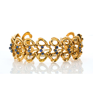 18K GOLD BLUE SAPPHIRE BRACELET; ; Spiral ...