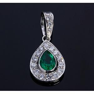 18K EMERALD DIAMOND PENDANT; ; pear shape ...