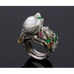 18K GOLD DIAMOND, BAROQUE PEARL, RUBY AND ...