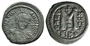 Justinian I (527-565). Æ 40 Nummi (33mm, ...