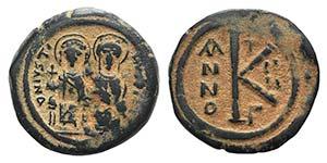 Justin II and Sophia (565-578). Æ 20 Nummi ...