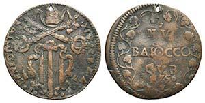 Papal, Benedetto XIV (1740-1758). Æ Baiocco ...