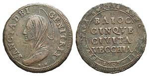 Papal, Pio VI (1774-1799). Æ Madonnina da 5 ...