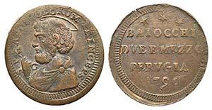 Papal, Pio VI (1774-1799). Æ Sampietrino da ...