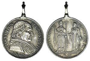 Papal, Pio VIII (1829-1830). AR 30 Baiocci ...